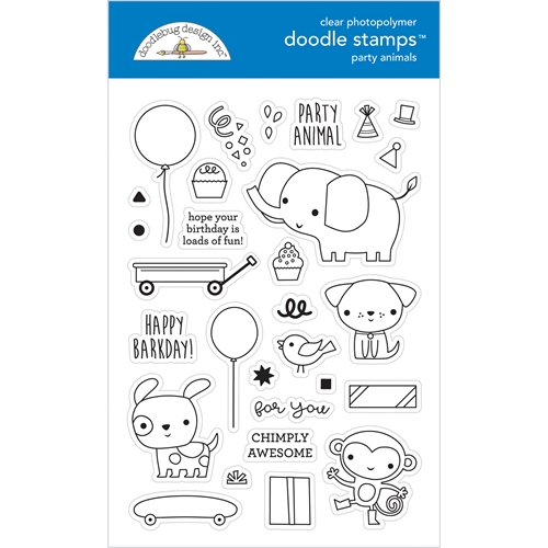 Doodlebug PARTY ANIMALS Doodle Clear Stamps 6652 Preview Image