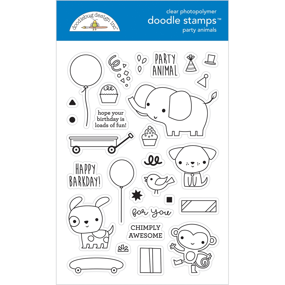 Doodlebug PARTY ANIMALS Doodle Clear Stamps 6652 zoom image