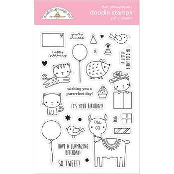 Doodlebug PARTY ANIMALS Doodle Clear Stamps 6648