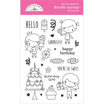 Doodlebug BIRTHDAY GIRL Doodle Clear Stamps 6646