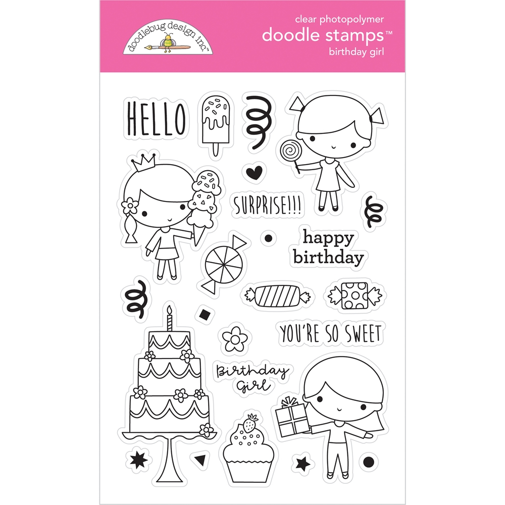 Doodlebug BIRTHDAY GIRL Doodle Clear Stamps 6646 zoom image
