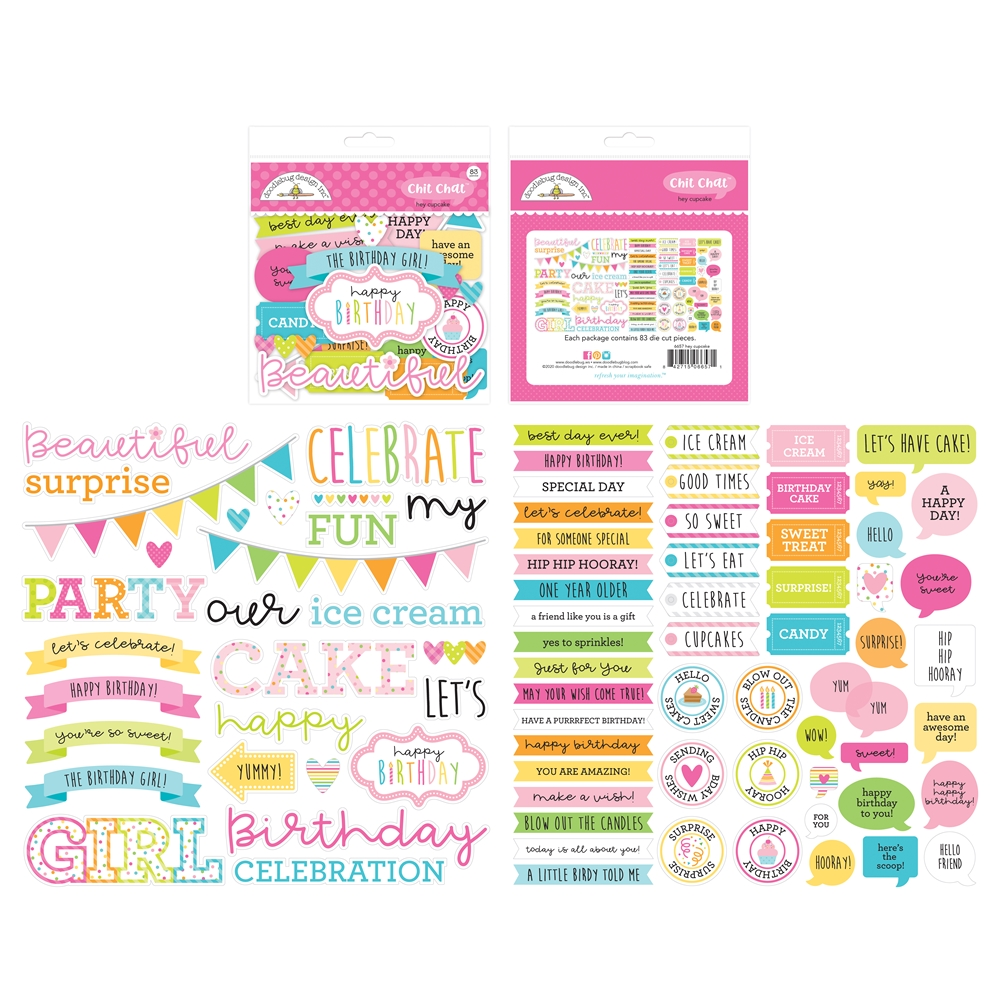 Doodlebug HEY CUPCAKE CHIT CHAT Die Cut Shapes 6657 zoom image
