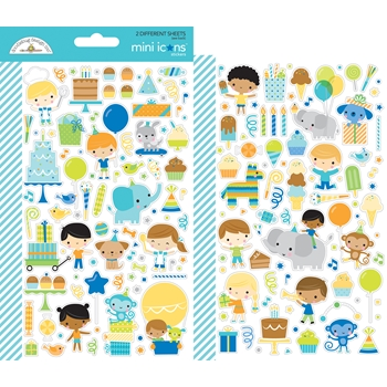 Doodlebug PARTY TIME MINI ICONS Cardstock Stickers 6645