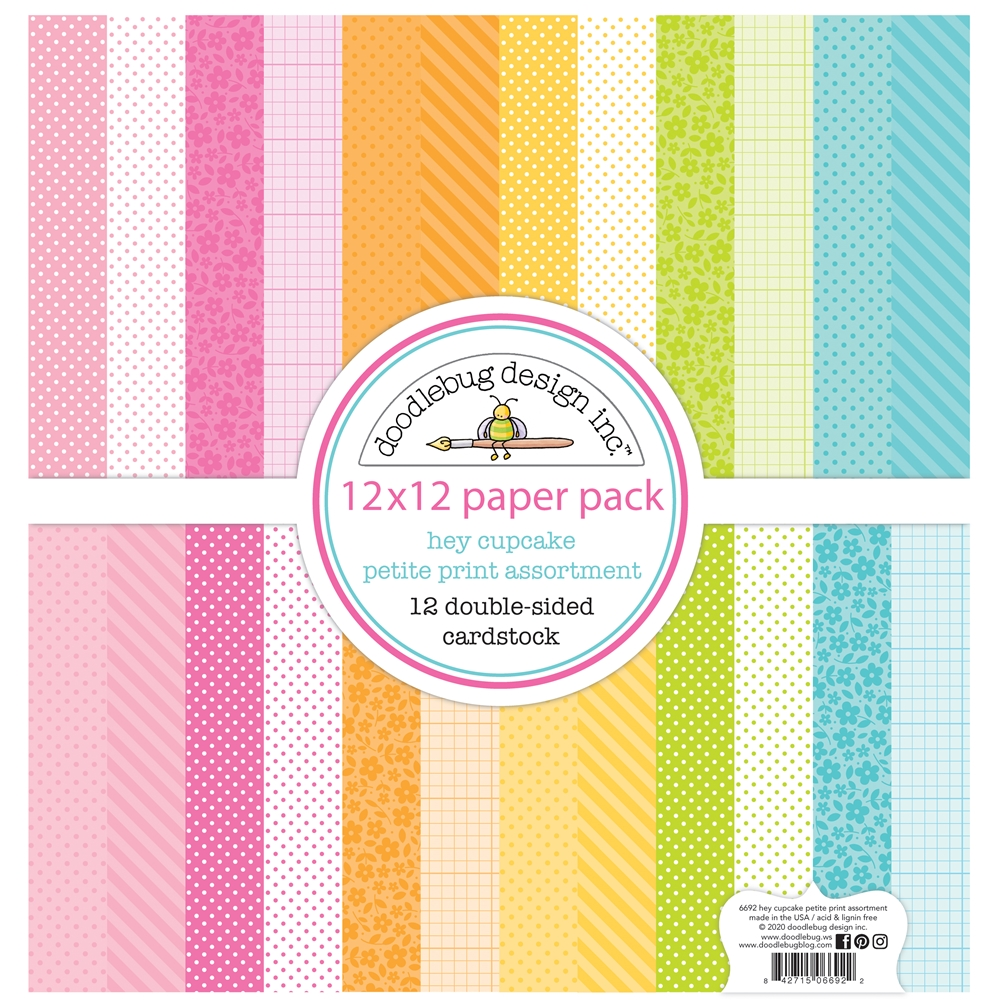 Doodlebug HEY CUPCAKE 12x12 Inch Petite Print Assortment Paper 6692 zoom image
