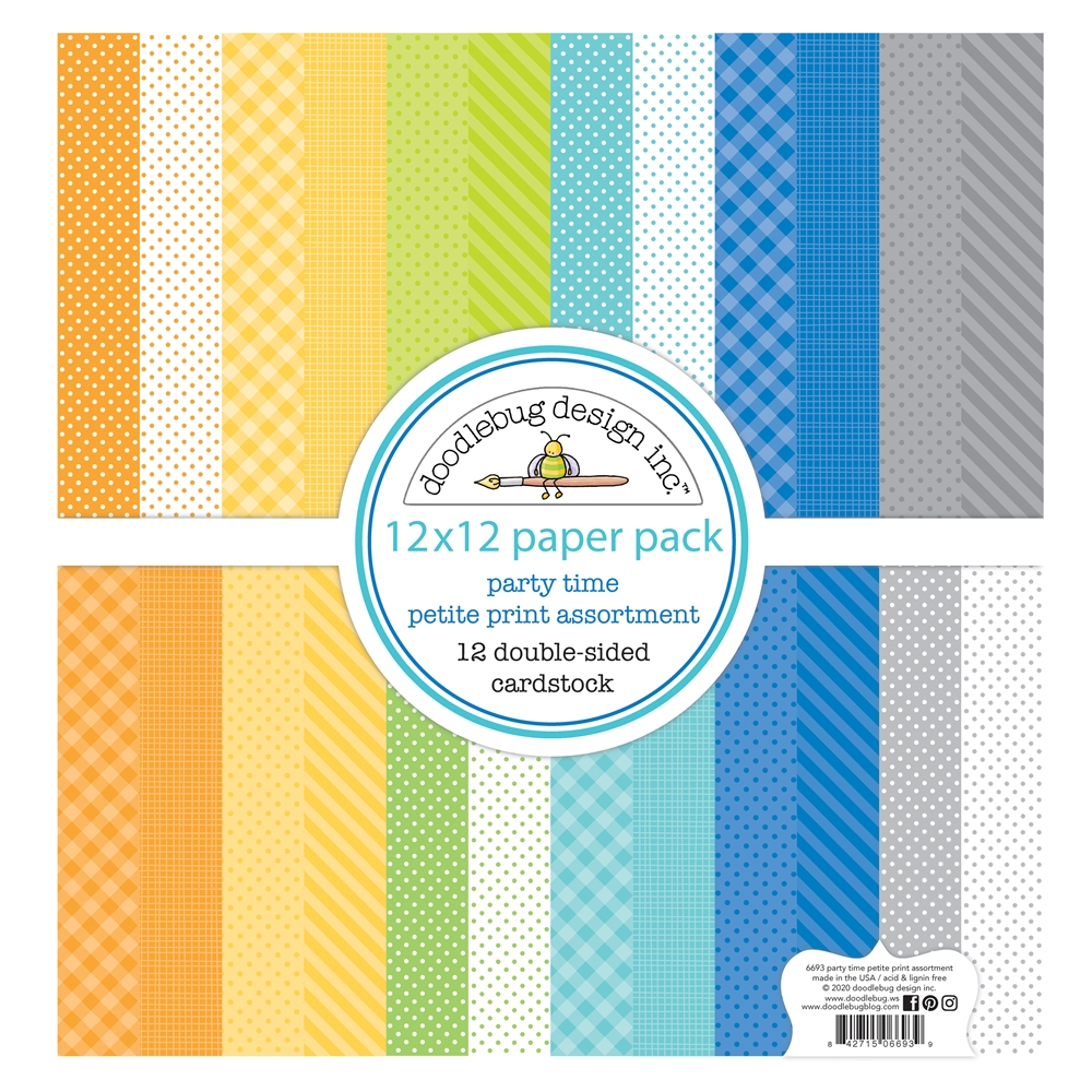 Doodlebug PARTY TIME 12x12 Inch Petite Print Assortment Paper 6693 zoom image