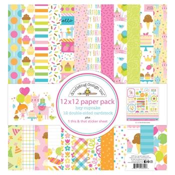 Doodlebug HEY CUPCAKE 12x12 Inch Paper Pack 6690