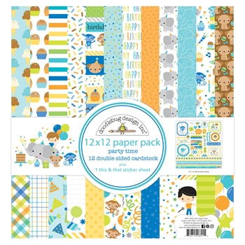 Doodlebug PARTY TIME 12x12 Inch Paper Pack 6691