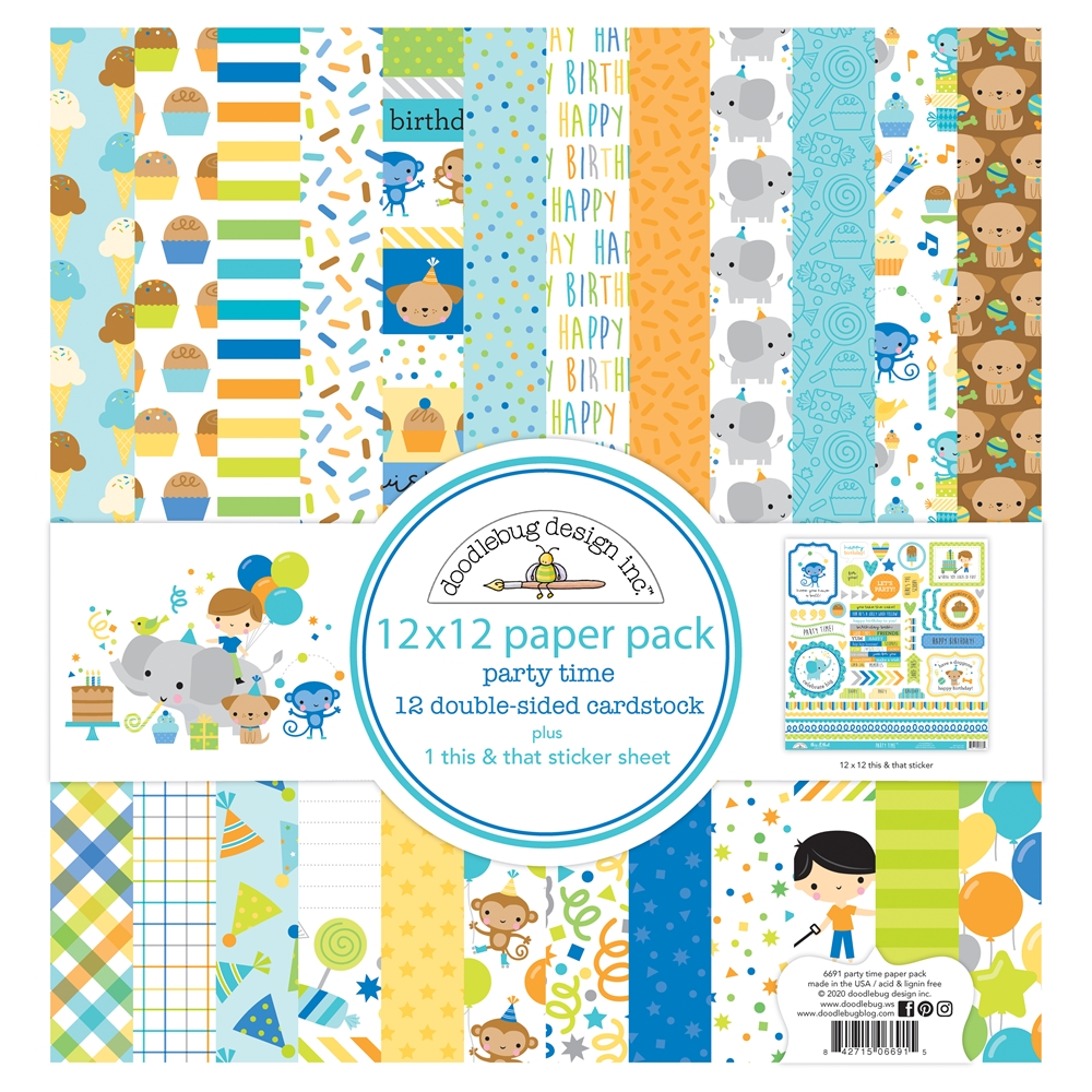 Doodlebug PARTY TIME 12x12 Inch Paper Pack 6691 zoom image