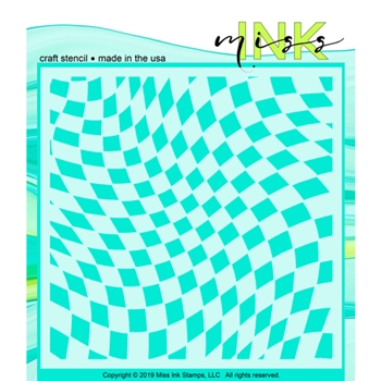 Miss Ink Stamps WONKY CHECKER Stencil 320t03