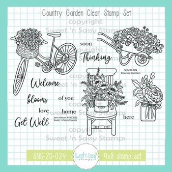 Sweet 'N Sassy COUNTRY GARDEN Clear Stamp Set sns20024*