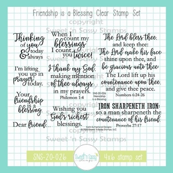 Sweet 'N Sassy FRIENDSHIP IS A BLESSING Clear Stamp Set sns20026