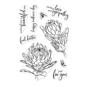 Hero Arts Clear Stamps PROTEA AND FLOWERS CM448