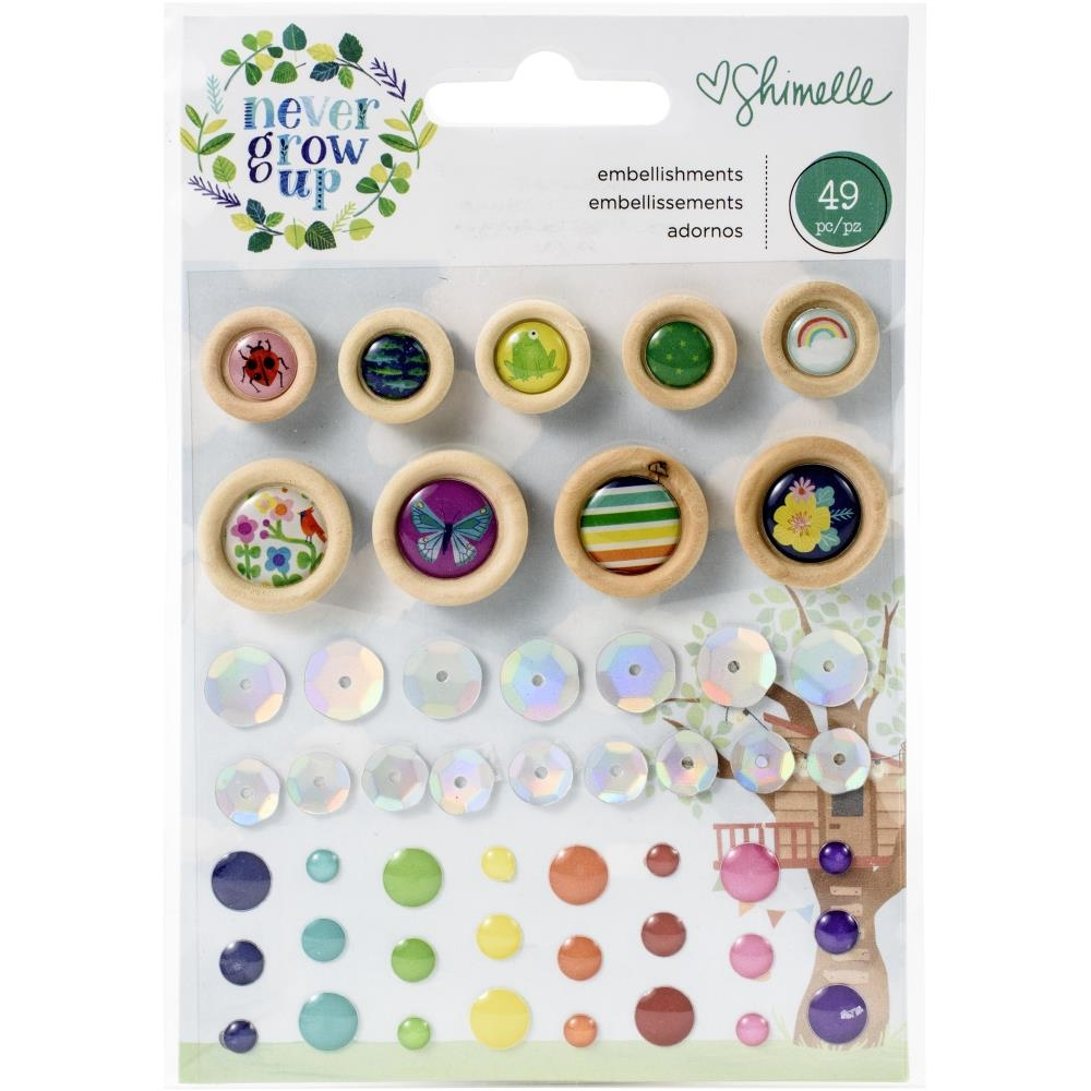 American Crafts Shimelle MINI EMBELLISHMENTS NEVER GROW UP 356190 zoom image