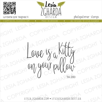 Lesia Zgharda LOVE IS A KITTY ON YOUR PILLOW Clear Stamp ta280
