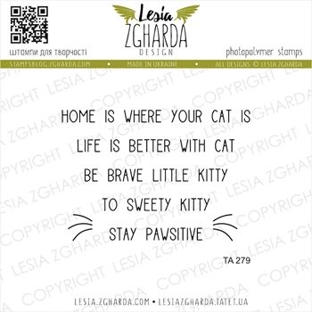 Lesia Zgharda HOME IS WHERE YOUR CAT IS Clear Stamps ta279