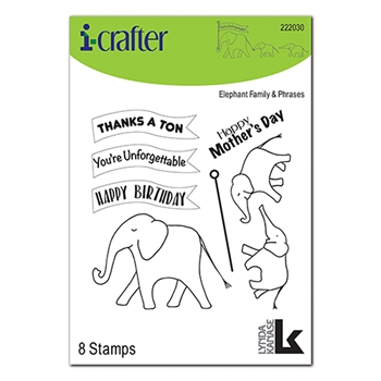 i-Crafter ELEPHANT FAMILY WITH PHRASES Clear Stamps 222030