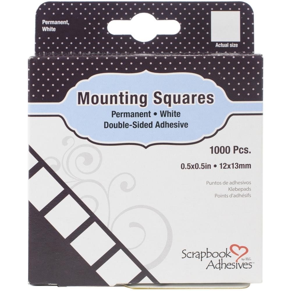 Scrapbook Adhesives MOUNTING SQUARES Permanent White Double-Sided Adhesive 1608 zoom image