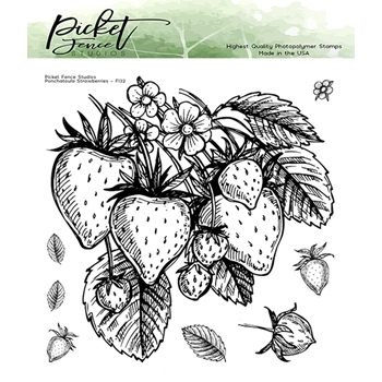 Picket Fence Studios PONCHATOULA STRAWBERRIES Clear Stamp Set f132