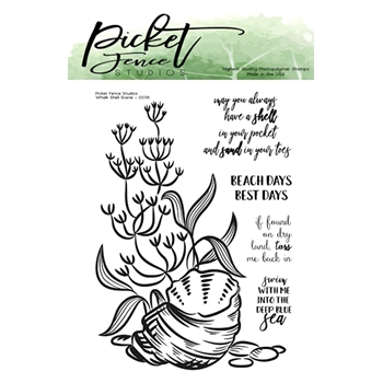 Picket Fence Studios WHELK SHELL SCENE Clear Stamp Set oc115