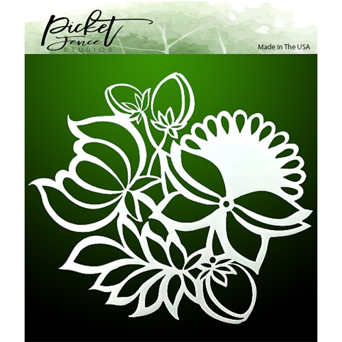 Picket Fence Studios LEAVES AND FLOWERS 6x6 Stencil sc145* Preview Image
