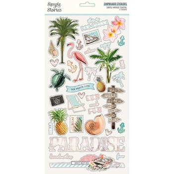 Simple Stories VINTAGE COASTAL 6 x 12 Chipboard Stickers 12716
