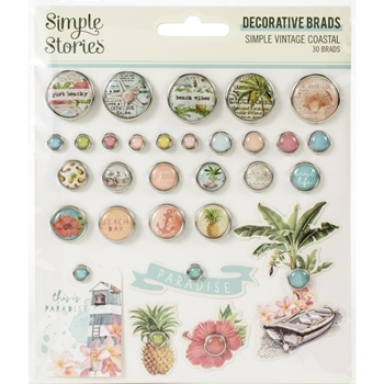 Simple Stories VINTAGE COASTAL Decorative Brads 12725