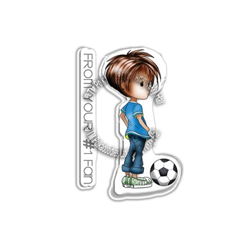 Polkadoodles FOOTBALL Little Dudes Clear Stamps pd7859