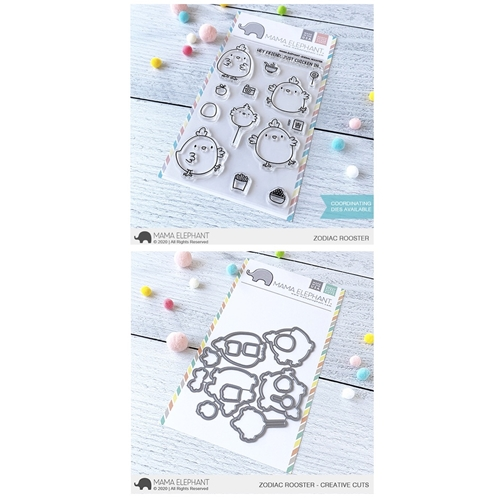 Mama Elephant Clear Stamp and Die MEPT770 Zodiac Rooster SET Preview Image