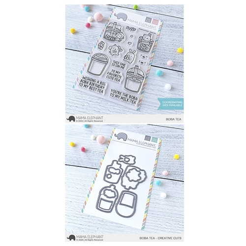 Mama Elephant Clear Stamp and Die MEPT776 Boba Tea SET Preview Image