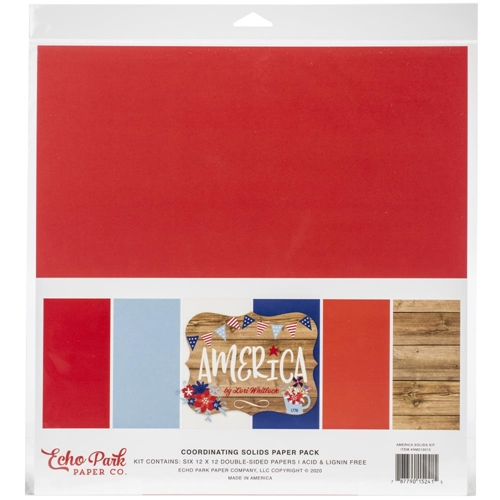 Echo Park AMERICA 12 x 12 Solids Paper Pack am213015 Preview Image