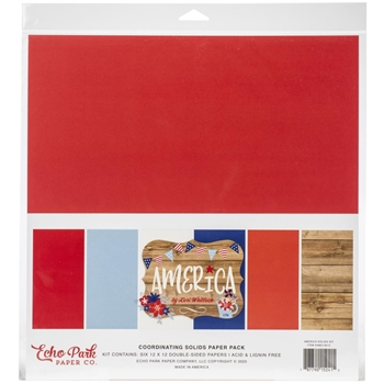 Echo Park AMERICA 12 x 12 Solids Paper Pack am213015