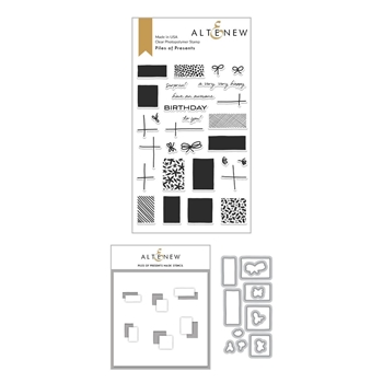 Altenew PILES OF PRESENTS Clear Stamp, Die and Mask Stencil Bundle ALT4019*