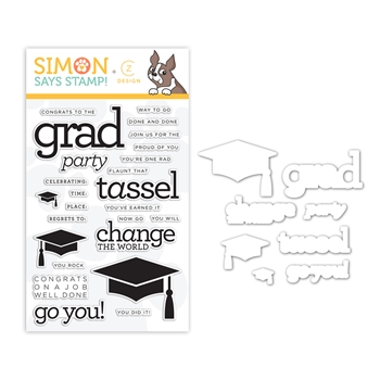 CZ Design Stamps and Dies GRAD PARTY set381gp Sunny Days Ahead
