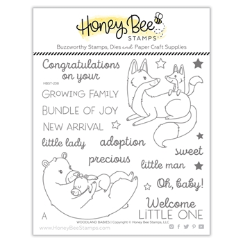 Honey Bee WOODLAND BABIES Clear Stamp Set hbst238