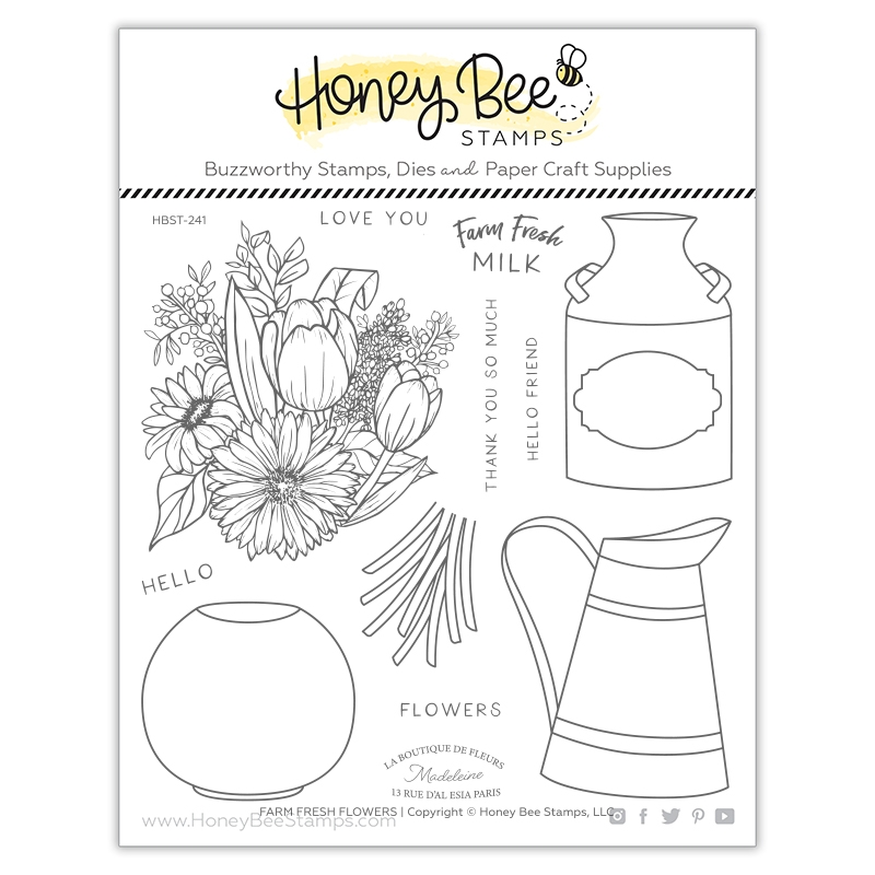 Honey Bee FARM FRESH FLOWERS Clear Stamp Set hbst241 zoom image