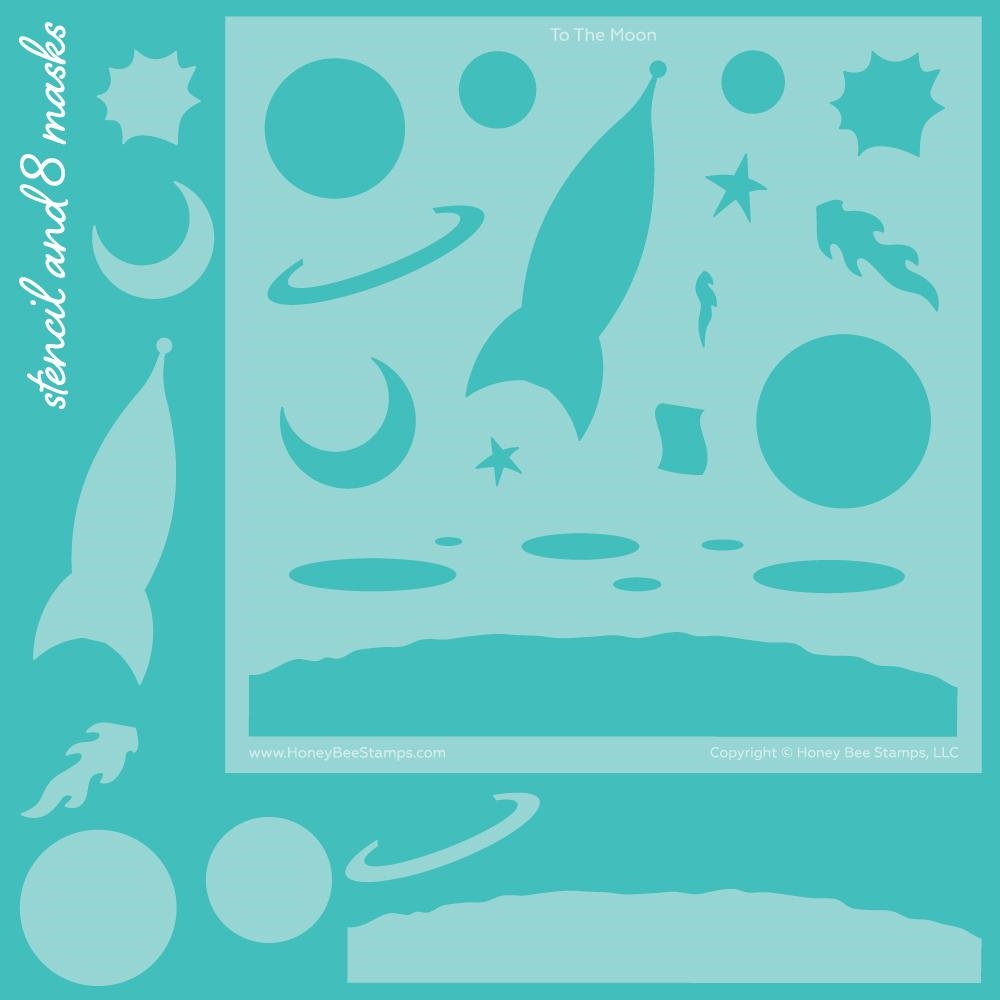 Honey Bee TO THE MOON SCENE BUILDER Stencils And Masks Set of 9 hbsl044* zoom image