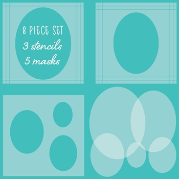 Honey Bee OVAL SPOTLIGHT Stencils And Masks Set of 8 hbsl054