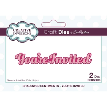 Creative Expressions YOURE INVITED Sue Wilson Mini Shadowed Sentiments Die Set cedss016