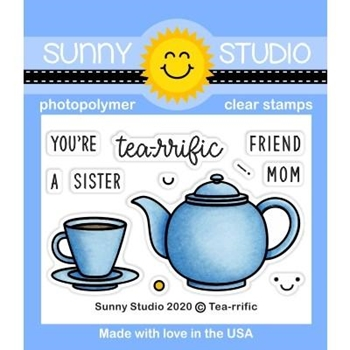Sunny Studio TEA RIFFIC Clear Stamps SSCL-260