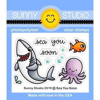 Sunny Studio SEA YOU SOON Clear Stamps SSCL-239