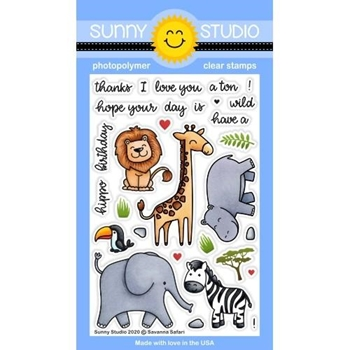 Sunny Studio SAVANNA SAFARI Clear Stamps SSCL-266