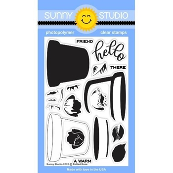 Sunny Studio POTTED ROSE Clear Stamps SSCL-267
