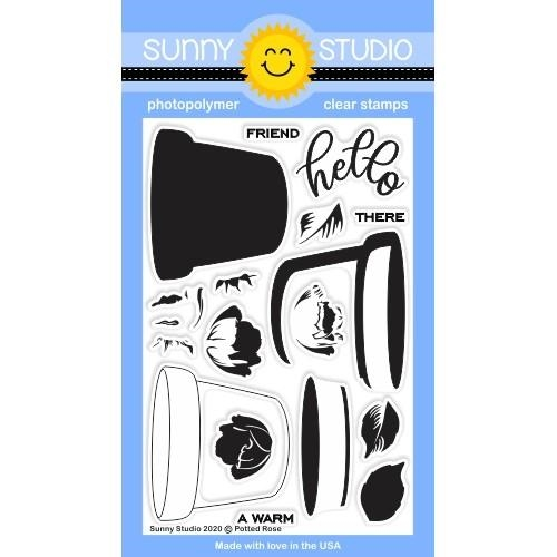 Sunny Studio POTTED ROSE Clear Stamps SSCL-267 zoom image