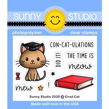 Sunny Studio GRAD CAT Clear Stamps SSCL-270