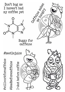 The Rabbit Hole Designs CAFFEINATED BUGGY FOR CAFFEINE Clear Stamps TRH-61