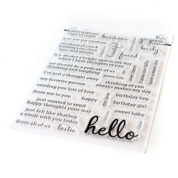 PinkFresh Studio SIMPLY SENTIMENTS HELLO Clear Stamp Set pfcs0920