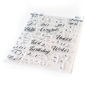 RESERVE Pinkfresh Studio LAYERED SCRIPT WORDS Clear Stamp Set pfcs1020