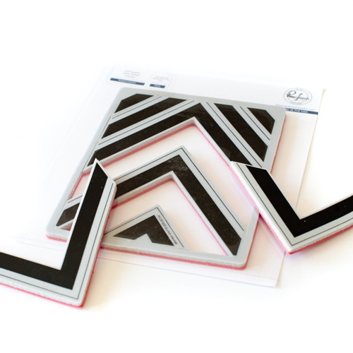 PinkFresh Studio NESTED CHEVRON BACKGROUND Cling Stamp pfcr1020 Preview Image