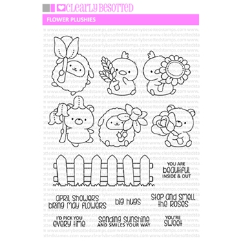 Clearly Besotted FLOWER PLUSHIES Clear Stamps
