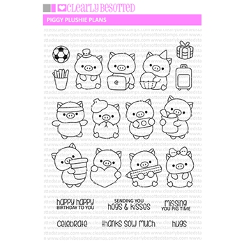 Clearly Besotted PIGGY PLUSHIE PLANNER Clear Stamps